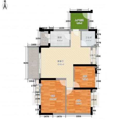 劲旅丽景花园3室1厅1卫1厨78.75㎡户型图