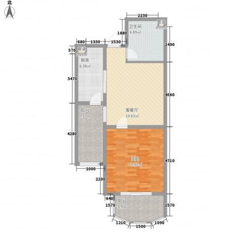 宏丰屯1室1厅1卫1厨83.00㎡户型图