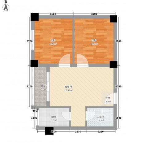 文汇苑2室1厅1卫1厨66.00㎡户型图