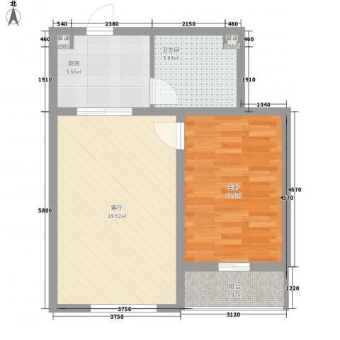 香岛丽湾1室1厅1卫1厨67.00㎡户型图