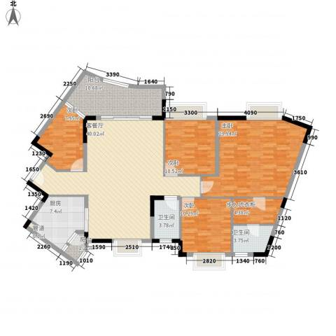 联华花园城4室1厅2卫1厨142.00㎡户型图