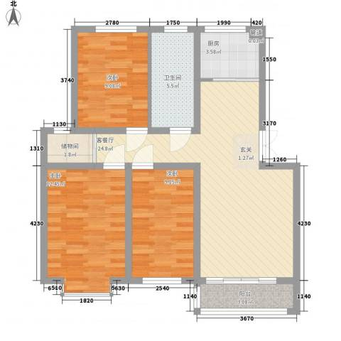 新约克小镇3室1厅1卫1厨101.00㎡户型图
