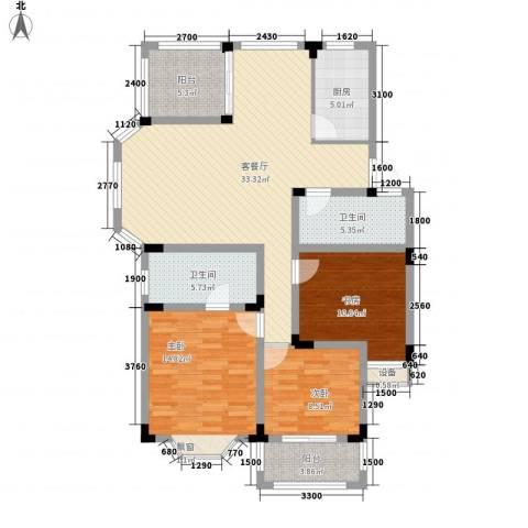 国光山水间3室1厅2卫1厨111.00㎡户型图