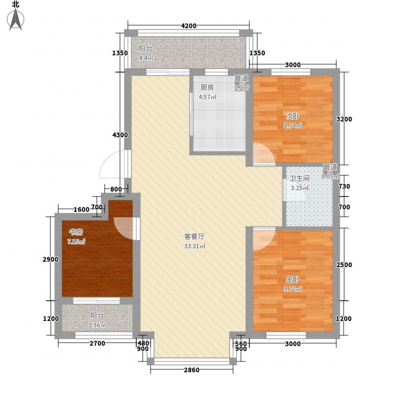 阳光嘉城二期16.00㎡F户型3室2厅1卫1厨