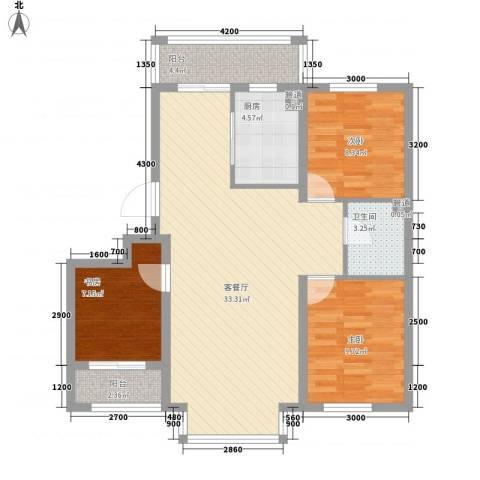 阳光嘉城二期3室1厅1卫1厨73.24㎡户型图