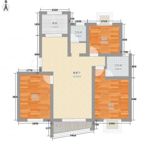 民康小区3室1厅2卫1厨85.00㎡户型图
