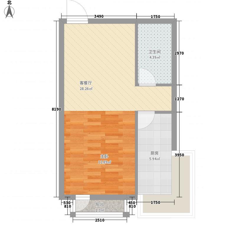 大渔岛A区56.30㎡户型1室1厅1卫1厨
