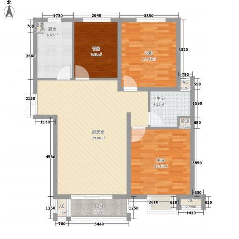 茂华国际汇3室0厅1卫1厨107.00㎡户型图