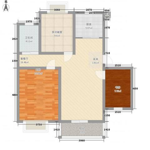 御都花园2室1厅1卫1厨76.43㎡户型图