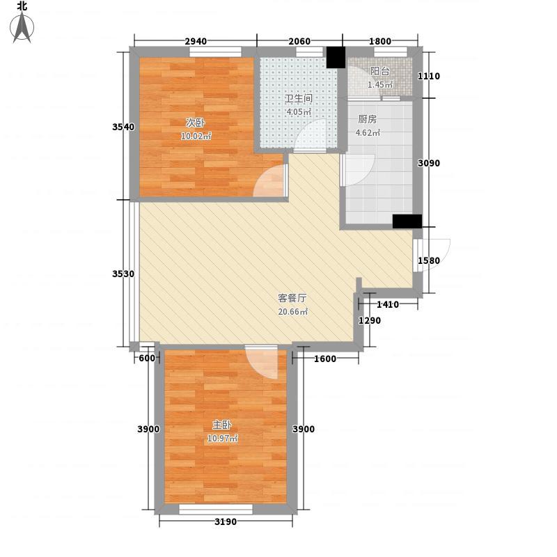 哈佛特区项目52.85㎡2户型2室1厅1卫1厨