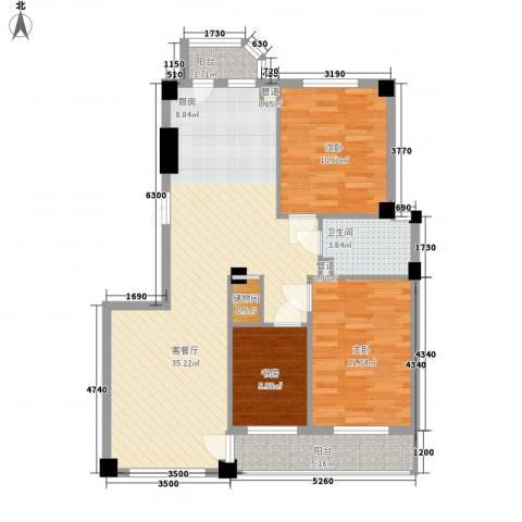 香岛丽湾3室1厅1卫0厨108.00㎡户型图