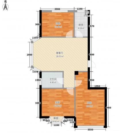 颐莲家园3室1厅1卫1厨109.00㎡户型图