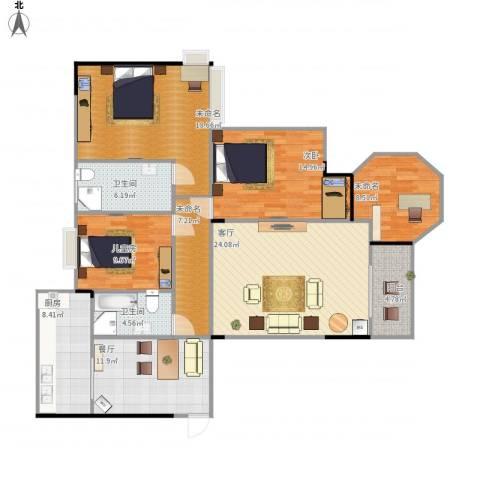 都昌县阳光国际2室2厅2卫1厨159.00㎡户型图