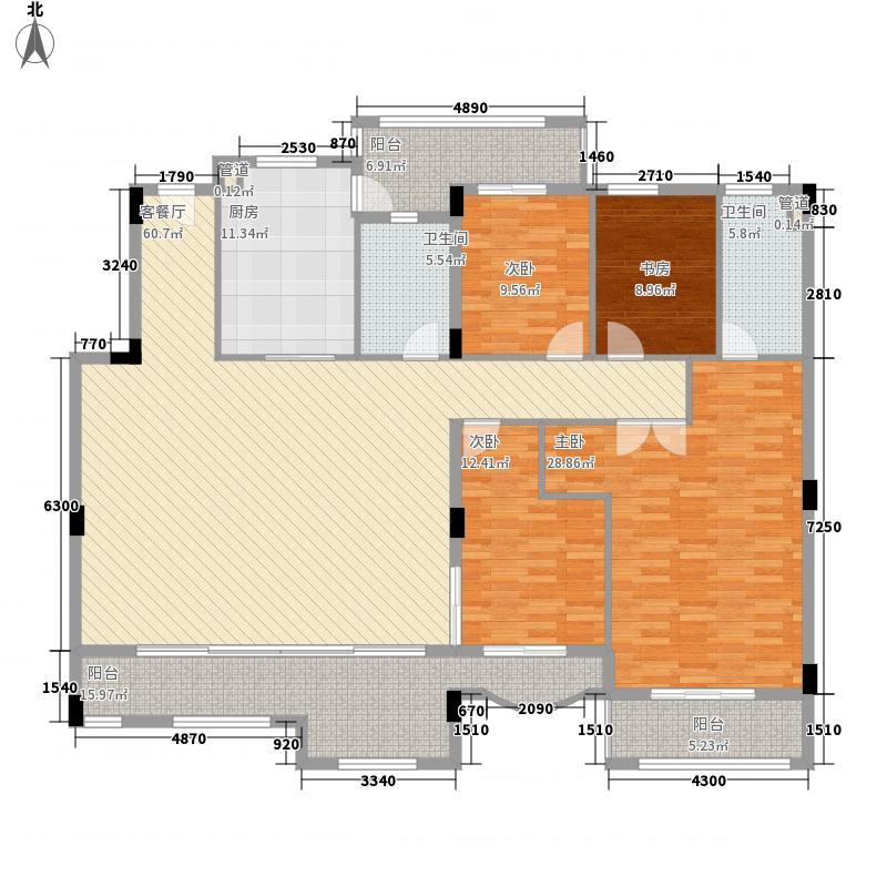 绿茵温莎堡五期199.78㎡绿茵温莎堡五期户型图69-74栋中间位3-6层户型4室2厅2卫1厨户型4室2厅2卫1厨