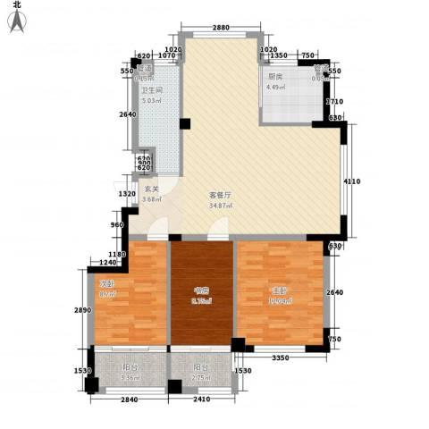 高新・锦绣北山3室1厅1卫1厨115.00㎡户型图