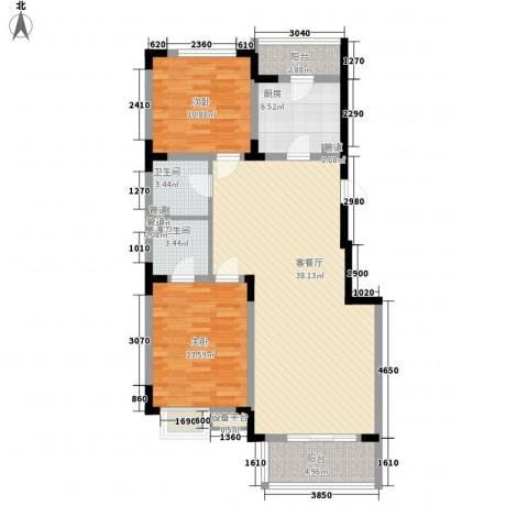 日光清城2室1厅2卫1厨121.00㎡户型图