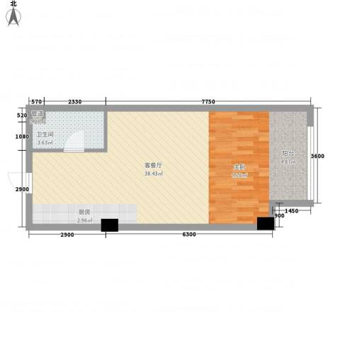 左岸经典蜜罐公寓1厅1卫0厨48.00㎡户型图