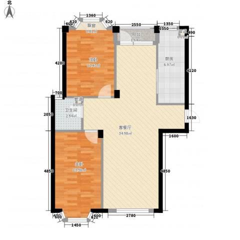 颐莲家园2室1厅1卫1厨95.00㎡户型图