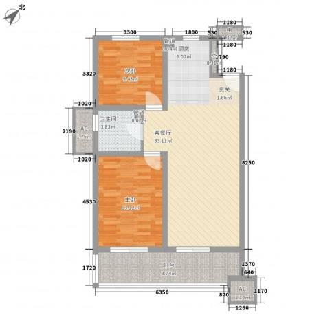 鸿德紫谷2室1厅1卫0厨105.00㎡户型图