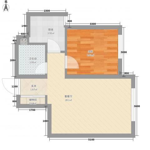 地王白金国际公寓1室1厅1卫1厨53.00㎡户型图