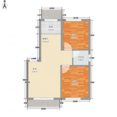 美景天城2室1厅1卫1厨82.00㎡户型图