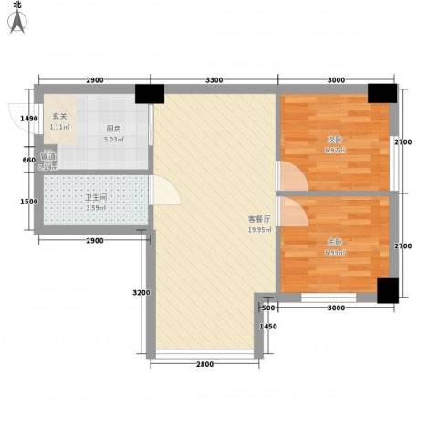 左岸经典蜜罐公寓2室1厅1卫1厨63.00㎡户型图