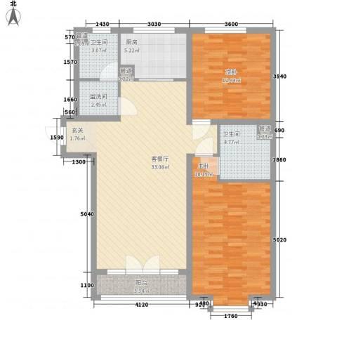 铁路宿舍2室1厅2卫1厨118.00㎡户型图