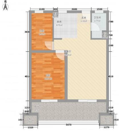 鸿德紫谷2室1厅1卫0厨91.00㎡户型图