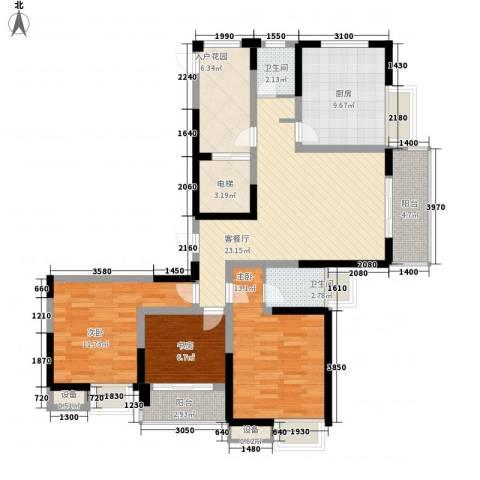 吟枫苑3室1厅2卫1厨131.00㎡户型图