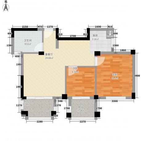 星汇半岛二期2室1厅1卫0厨78.00㎡户型图