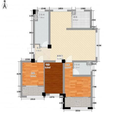 高新・锦绣北山3室1厅2卫1厨119.00㎡户型图