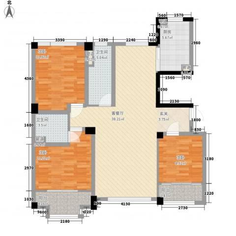 高新・锦绣北山3室1厅2卫1厨134.00㎡户型图