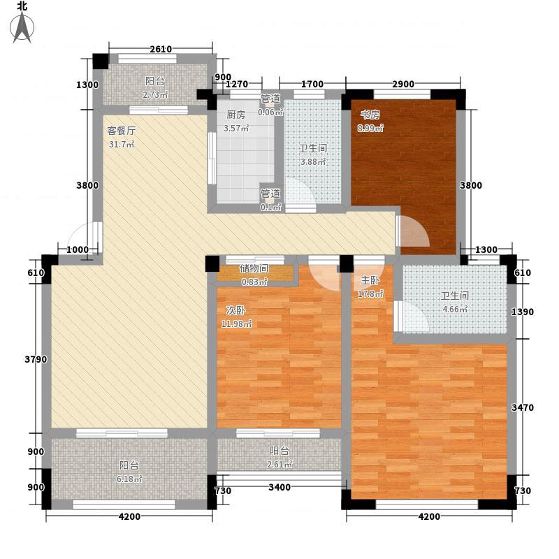 绿地世纪城130.04㎡布鲁斯小镇15#楼3层户型