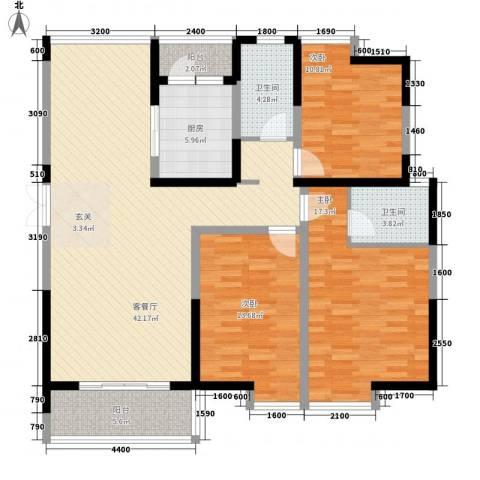 兰亭坊3室1厅2卫1厨142.00㎡户型图