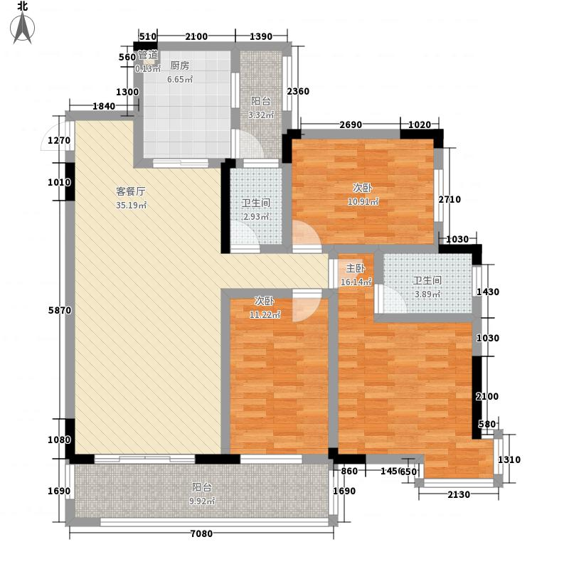香格里拉花园128.50㎡尊耀流金户型3室2厅2卫1厨