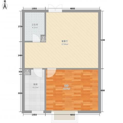 地王白金国际公寓1室1厅1卫1厨73.00㎡户型图
