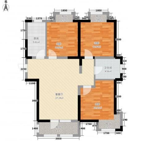 荣盛楠湖郦舍3室1厅1卫1厨111.00㎡户型图