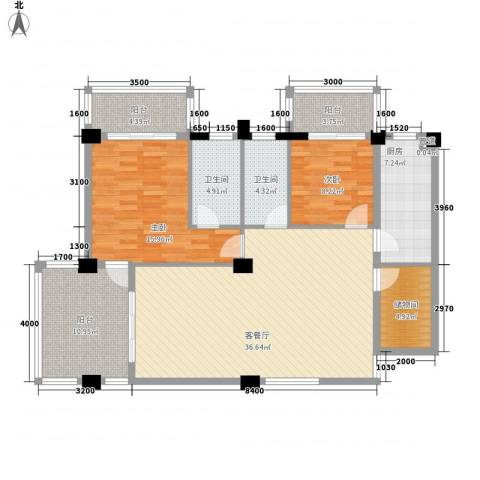 大�海・半山壹�2室1厅2卫1厨126.00㎡户型图