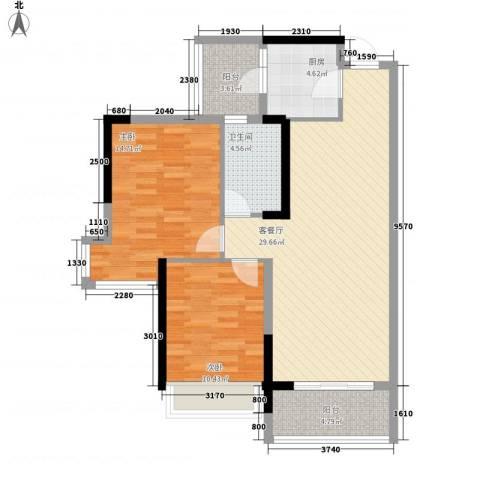 二城心作2室1厅1卫1厨86.00㎡户型图