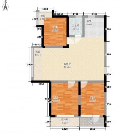 香水湾二期3室1厅1卫0厨95.00㎡户型图