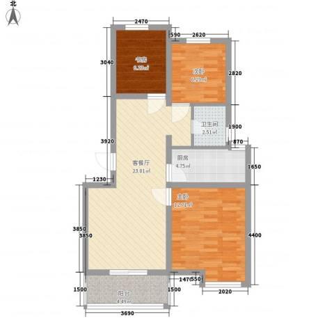 恒茂福泽园3室1厅1卫1厨59.98㎡户型图