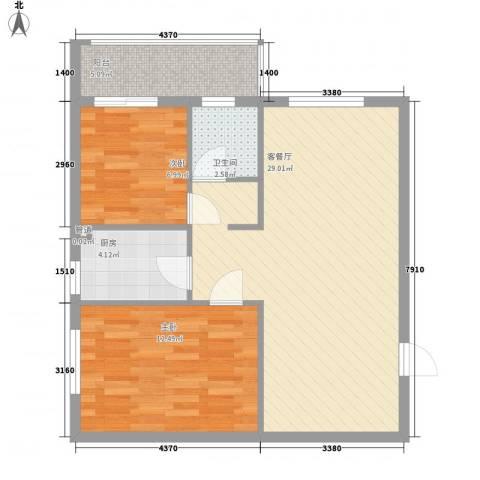 天翔城市公馆2室1厅1卫1厨84.00㎡户型图