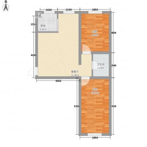 九元兴都2室1厅1卫1厨72.00㎡户型图