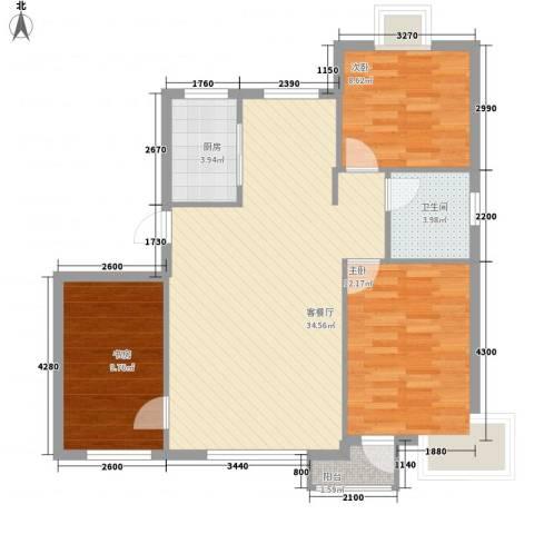 铭熙水岸3室1厅1卫1厨91.00㎡户型图