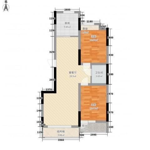 香水湾二期2室1厅1卫1厨86.00㎡户型图