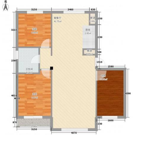 铭熙水岸3室1厅1卫0厨110.00㎡户型图