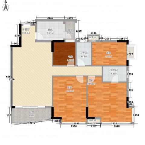 蔚蓝星湖三期4室1厅2卫1厨140.00㎡户型图
