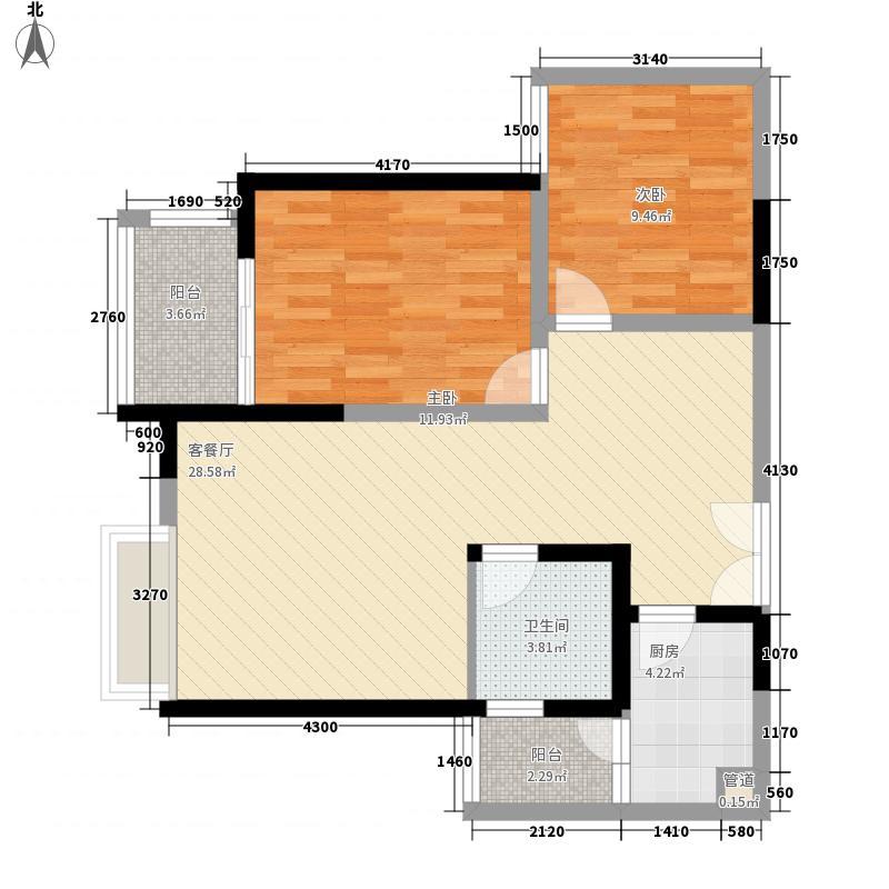 鸿洋湖景名城5.87㎡5栋05户型2室2厅1卫1厨