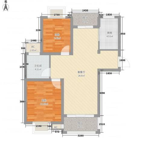 金水湾花园2室1厅1卫1厨90.00㎡户型图