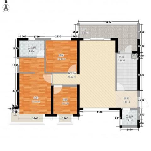 防城港恒大御景湾3室1厅2卫1厨125.00㎡户型图